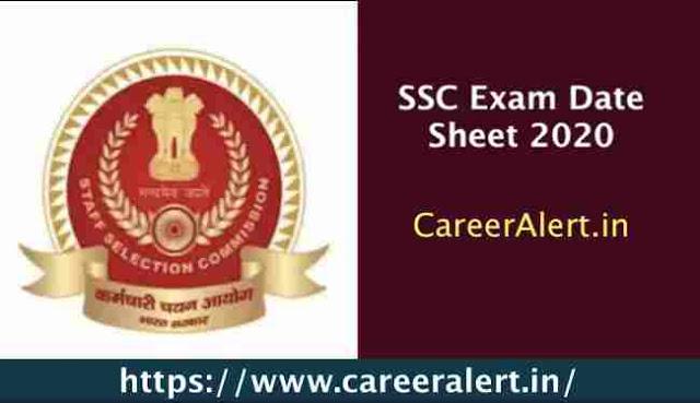 SSC Exam Date Sheet 2020