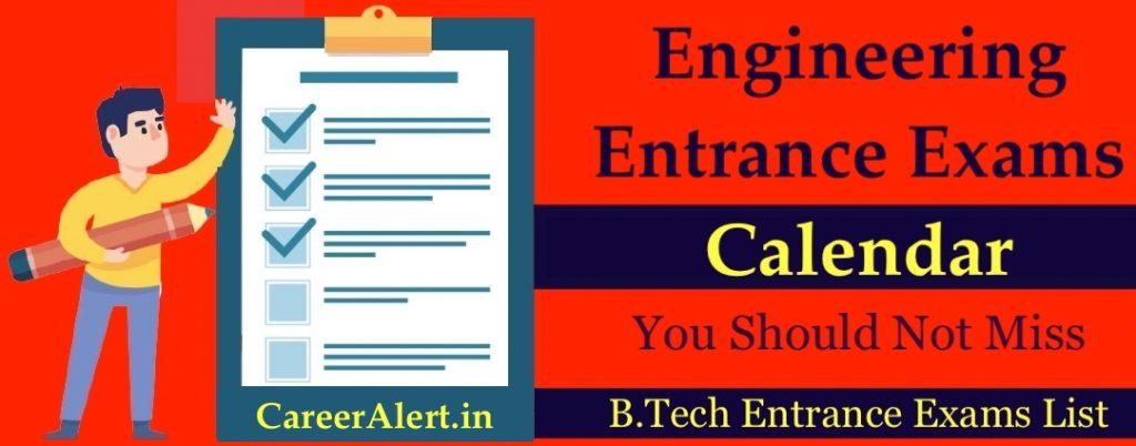 Engineering Entrance Exams Calendar 2021